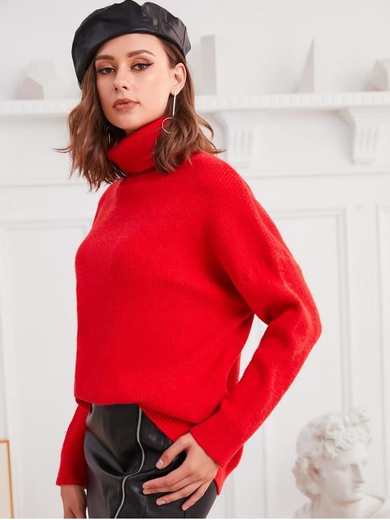 fancy Turtleneck Drop Shoulder Loose Plain Sweater - RED ONE SIZE