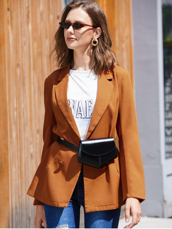 outfit ZAFUL Solid Double Breasted Skirted Blazer - DARK ORANGE XL
