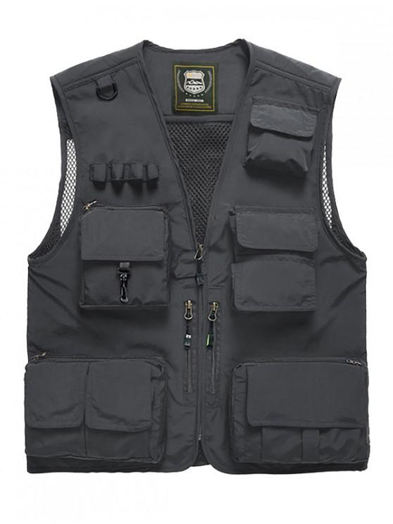 fancy Outdoor Plain Multi Pocket Cargo Vest - GRAY 3XL