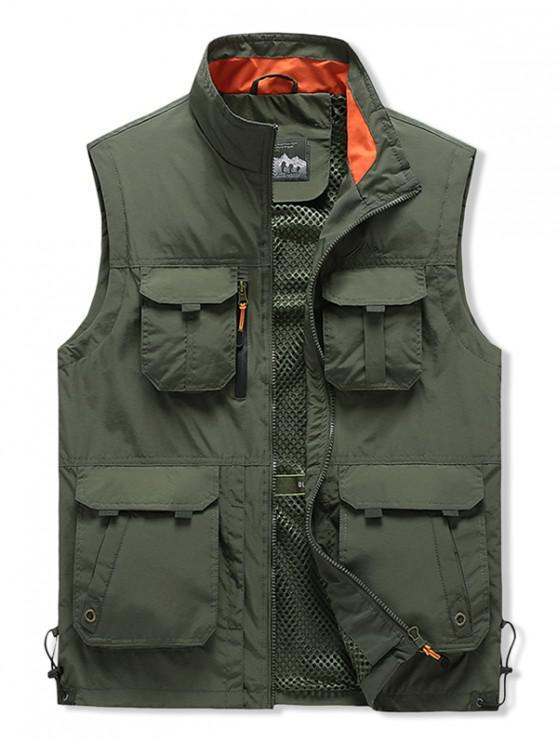 buy Outdoor Zip Up Multi Pockets Cargo Vest - ARMY GREEN L