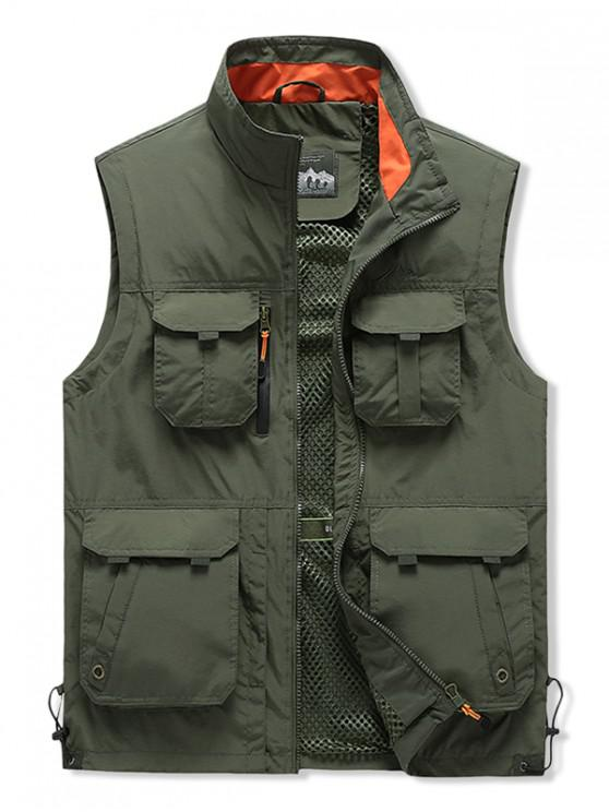 womens Outdoor Zip Up Multi Pockets Cargo Vest - ARMY GREEN M
