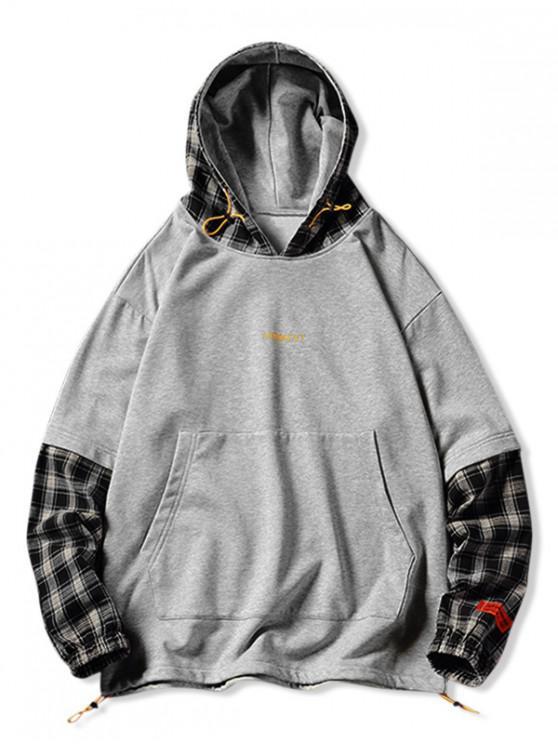 Plaid Splicing Faux Twinset Hip-Hop Hoodie - Grau M