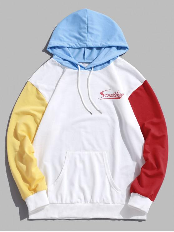 buy Letter Pattern Color Spliced Casual Hoodie - WHITE S