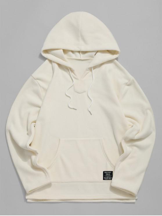 womens Letter Pattern Pocket Design Fluffy Hoodie - WARM WHITE 2XL