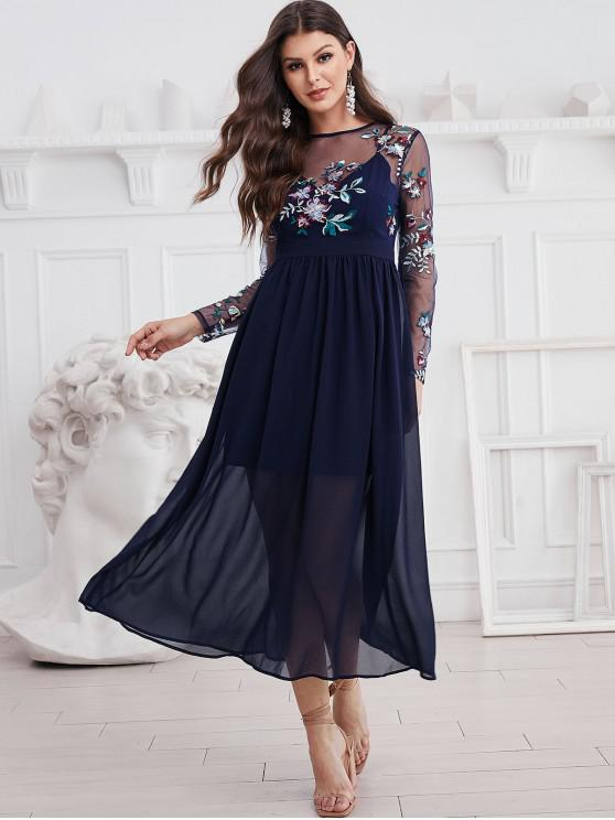 fashion ZAFUL Long Sleeve Embroidered Sequined Sheer Mesh Panel Dress - MIDNIGHT BLUE S
