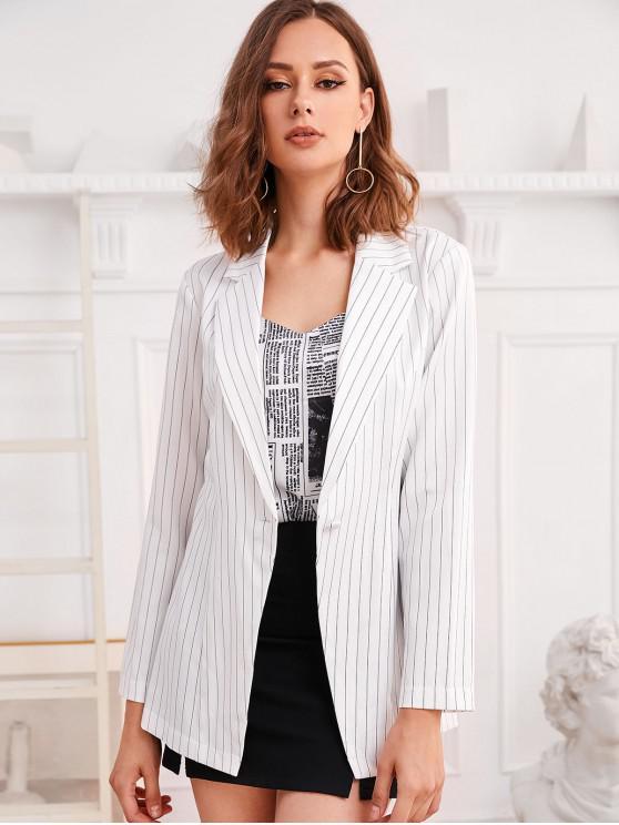 hot ZAFUL Pinstriped One Button Longline Blazer - WHITE M