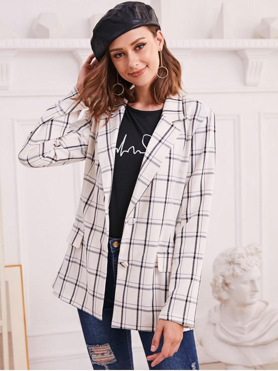 outfit ZAFUL Single Breasted Checked Print Faux Pocket Blazer - MULTI-A XL