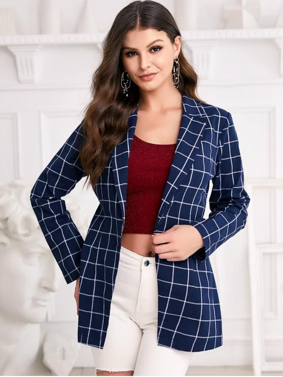 fancy ZAFUL Grid Print One Button Notch Lapel Blazer - DEEP BLUE M