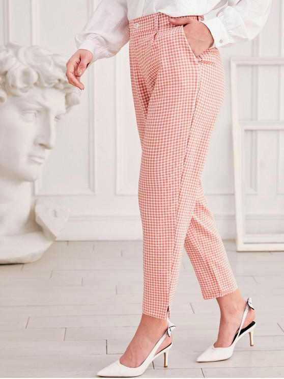 outfit Gingham Zipper Fly Side Slit Pants - PINK M