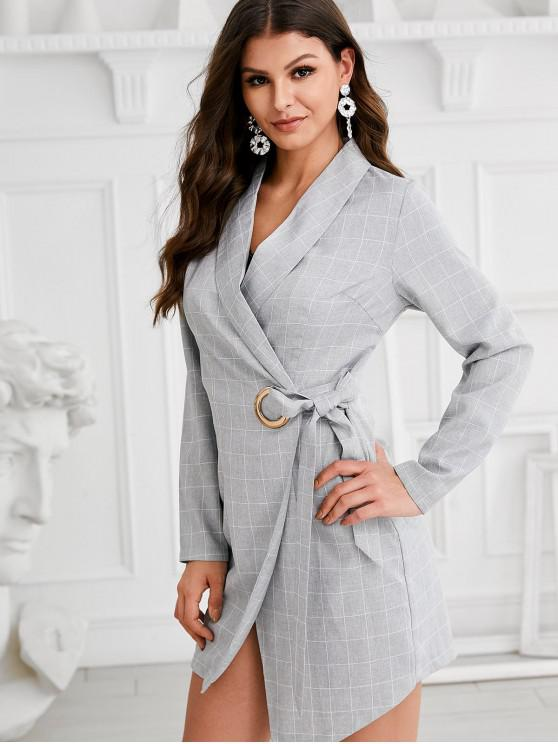fancy ZAFUL Plaid O Ring Wrap Work Dress - GRAY XS