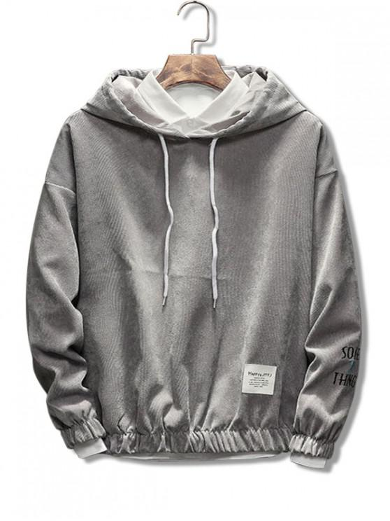 outfit Casual Letter Pattern Cord Hoodie - GRAY M
