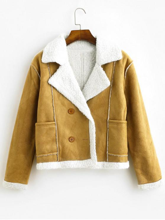 chic Pockets Faux Suede Double Breasted Sheepskin Jacket - CAMEL BROWN M