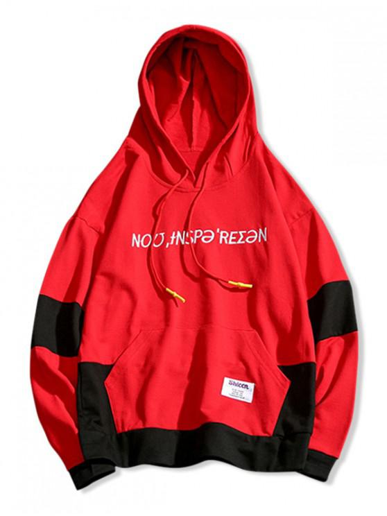 latest Two Tone Letter Embroidery Front Pocket Hoodie - LAVA RED XS