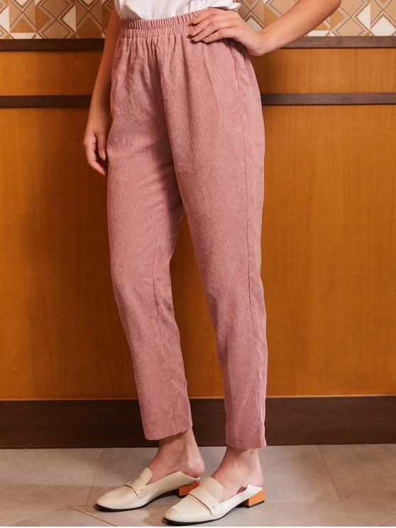 outfits ZAFUL High Waisted Corduroy Straight Pants - PINK S