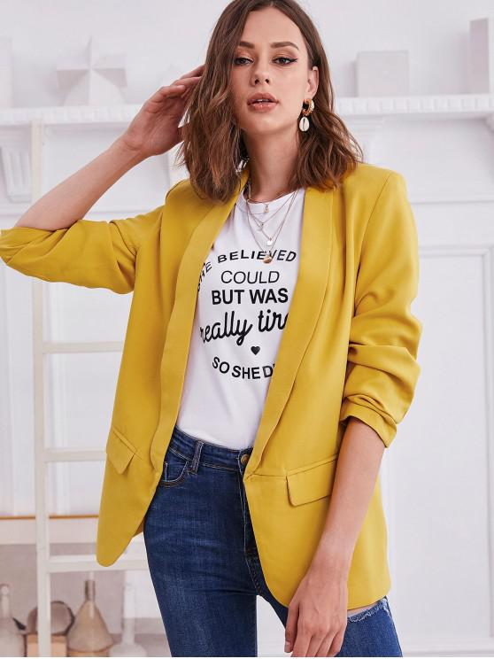 outfits Shawl Collar Open Front Gathered Sleeve Blazer - YELLOW S