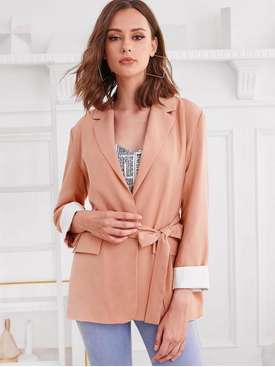 ladies ZAFUL Faux Pockets One Buttoned Belted Cuffed Blazer - ORANGE PINK L