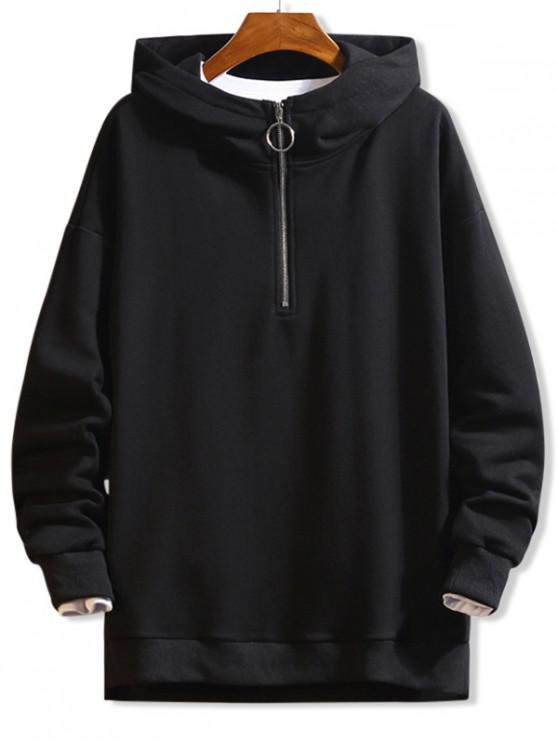 chic O-ring Half Zip Drop Shoulder Hoodie - BLACK S