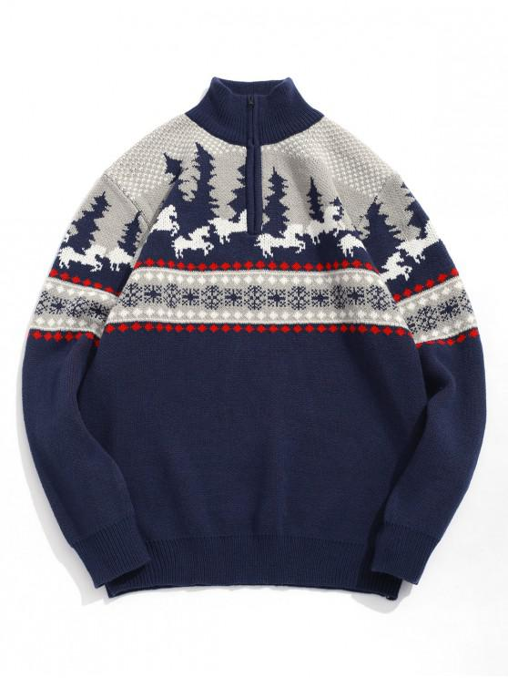 shops Cartoon Pattern Christmas Sweater - CADETBLUE XL