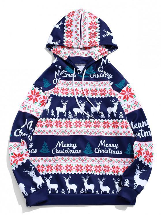 hot Merry Christmas Elk Snowflake Graphic Drawstring Hoodie - MIDNIGHT BLUE S