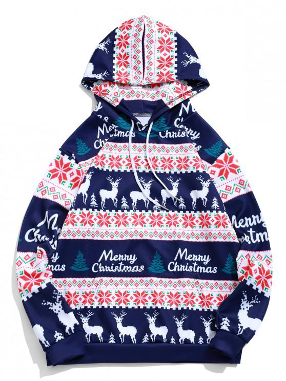 trendy Merry Christmas Elk Snowflake Graphic Drawstring Hoodie - MIDNIGHT BLUE 3XL