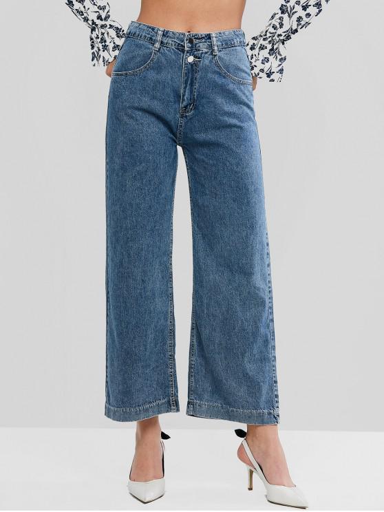 shops High Rise Zip Fly Pocket Wide Leg Jeans - DENIM BLUE M