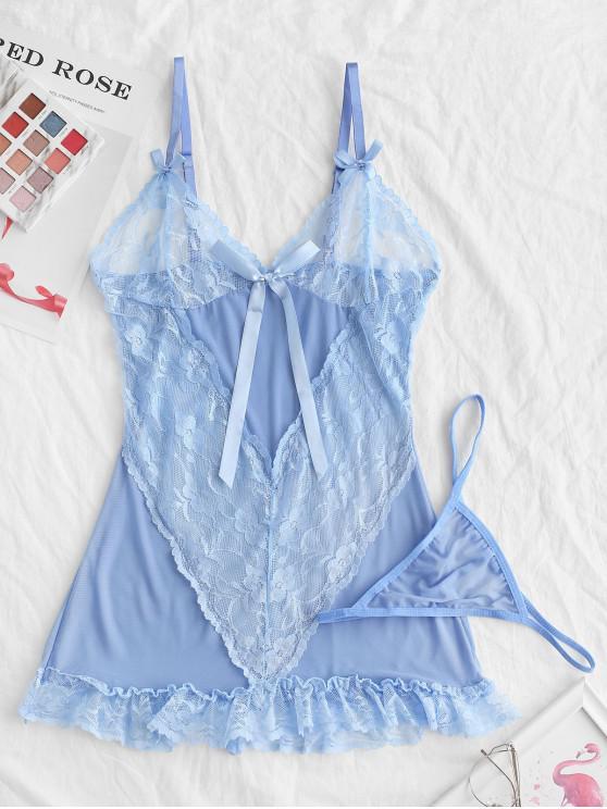 Del cordón del Bowknot Insertar interior Dress Frilled - Celeste XL