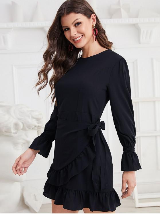 affordable Tie Waist Overlap Ruffled Hem Mini Dress - BLACK L