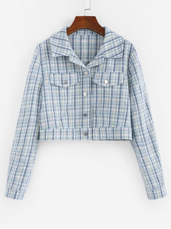 unique ZAFUL Cropped Tweed Jacket - POWDER BLUE M