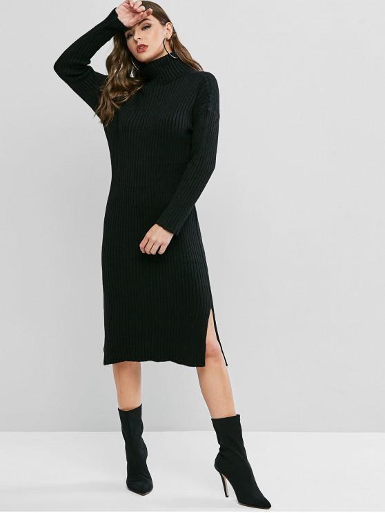 Cuello alto gota hombro vestido de suéter de hendidura - Negro Talla única