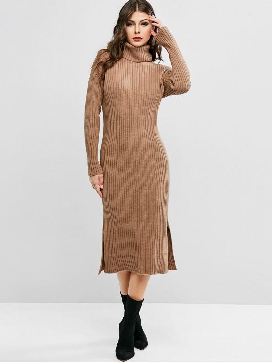 Turtleneck Tropfen Schulter Schlitz Pullover Kleid - Kaffee Eine Größe