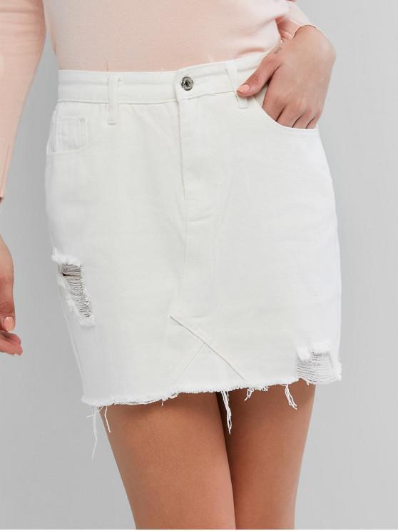 fancy Ripped Frayed Hem Pockets Denim Skirt - WHITE M