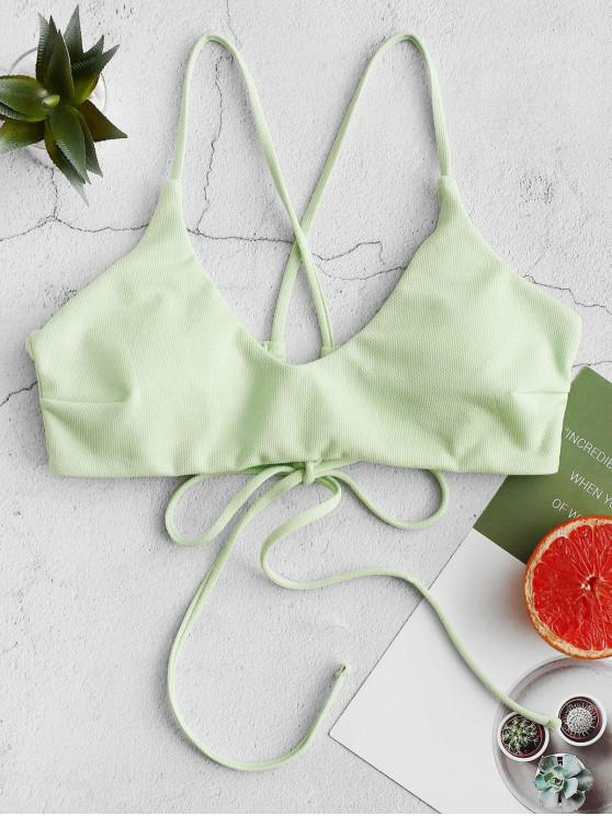 women's ZAFUL Textured Criss Cross Padded Bikini Top - MINT GREEN M