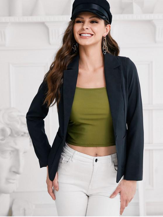 women's One Button Dual Pockets Lapel Blazer - BLACK L