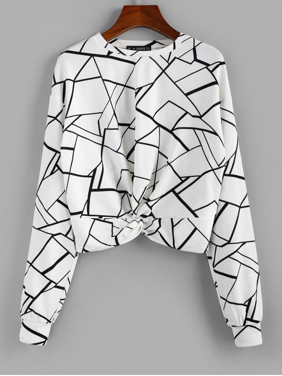 fancy ZAFUL Geo Print Twist-front Top - WHITE XL