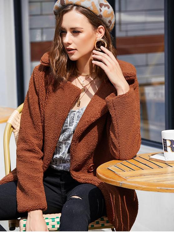 lady Faux Fur Coat - BROWN L