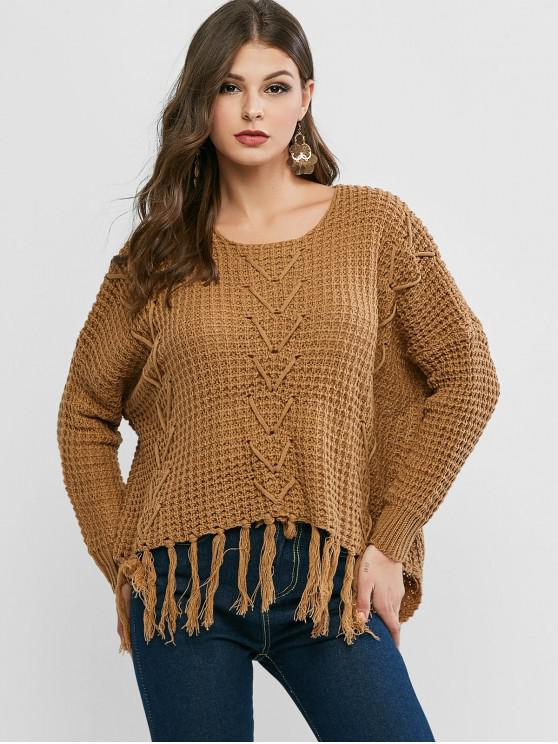 new Tassels Loose Knit High Low Sweater - BROWN ONE SIZE