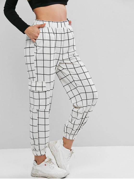 lady High Waist Plaid Jogger Pants - WHITE XL