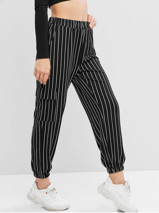 new High Waist Plaid Jogger Pants - MULTI-A L