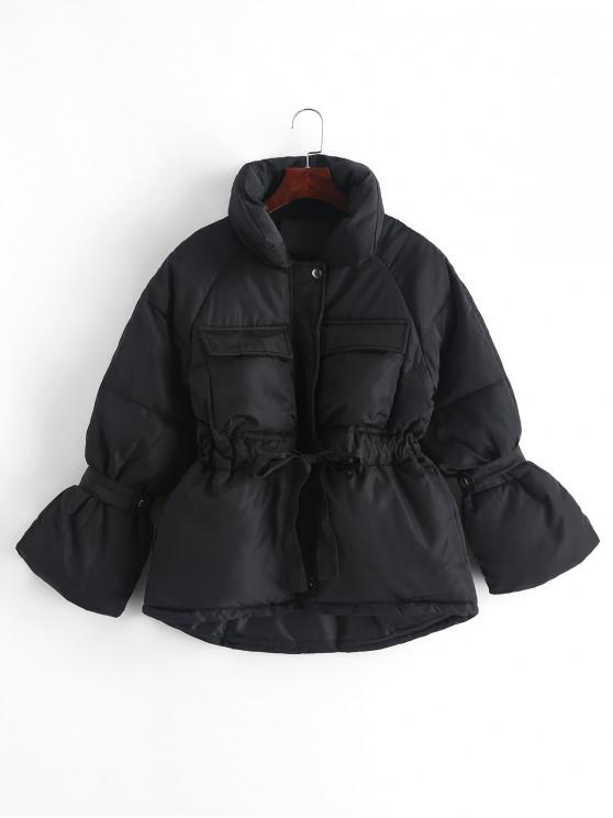 fashion Pockets Zip Up Drawstring Waist Puffer Coat - BLACK L