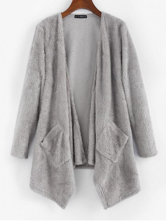 women's ZAFUL Draped Plush Coat - LIGHT GRAY S