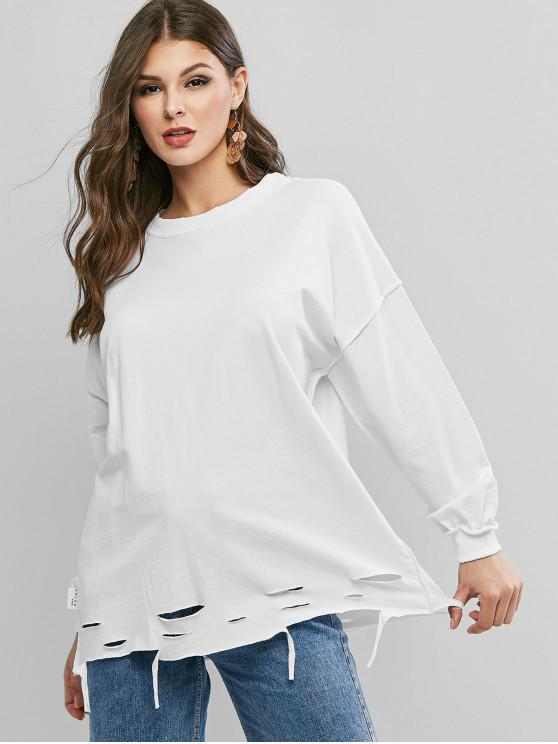affordable Ripped Drop Shoulder Oversized Raw Cut Tunic Sweatshirt - WHITE ONE SIZE