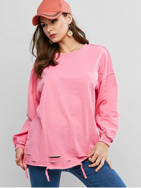 best Ripped Drop Shoulder Oversized Raw Cut Tunic Sweatshirt - ROSE RED ONE SIZE
