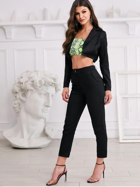outfit Lapel Open Crop Blazer and Work Pencil Pants Set - BLACK S