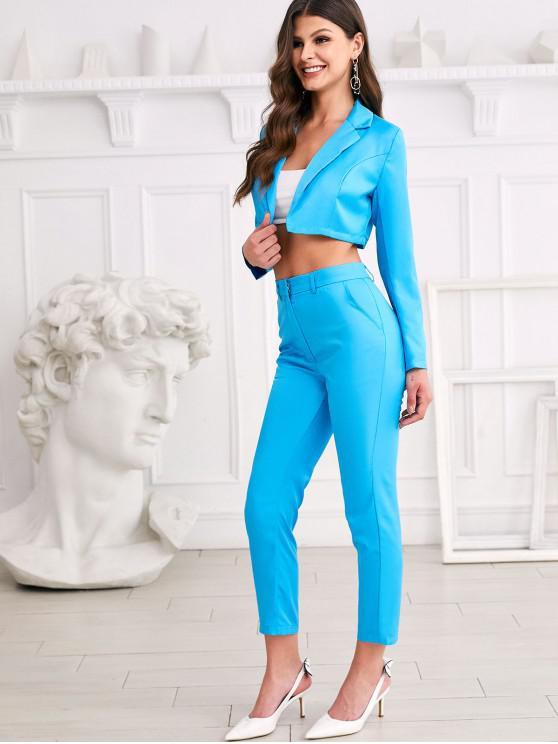 latest Lapel Open Crop Blazer and Work Pencil Pants Set - CRYSTAL BLUE S