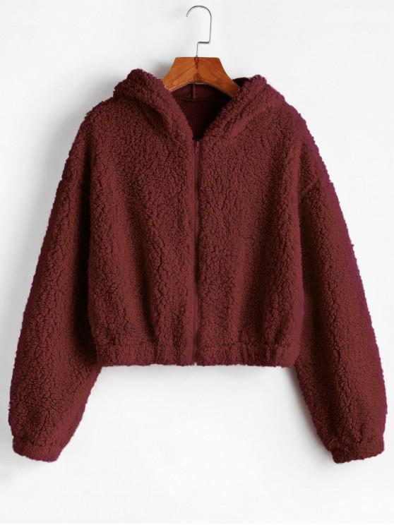 women ZAFUL Hooded Zip Up Fluffy Teddy Jacket - RED WINE M