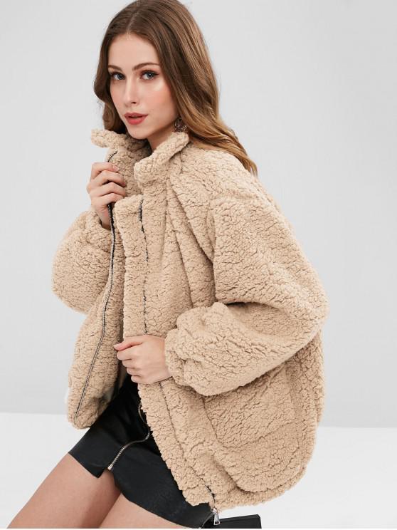 lady Slip Pockets Faux Fur Teddy Coat - APRICOT M