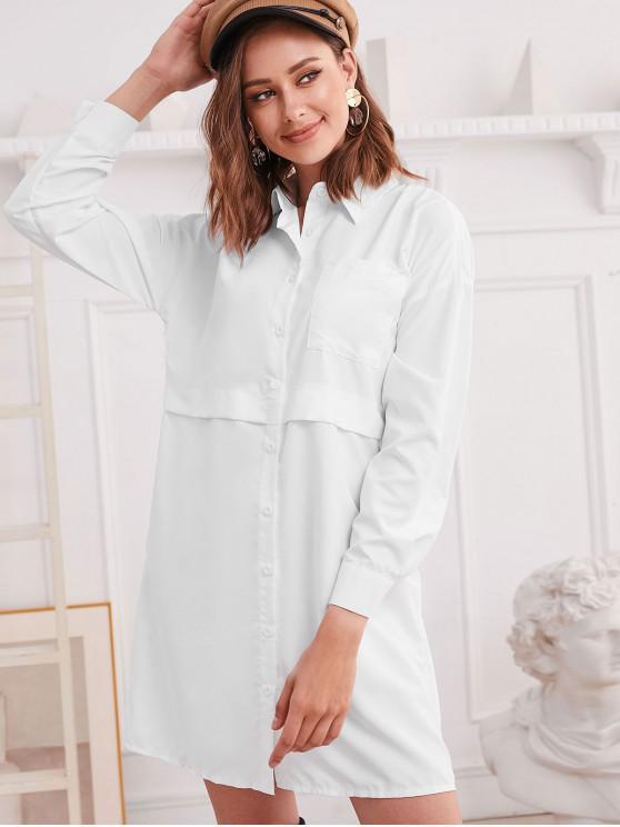 affordable Drop Shoulder Chest Pocket Tunic Shirt Dress - WHITE S