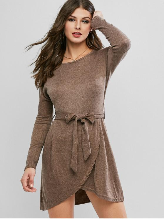 ladies Drop Shoulder Belted Faux Wrap Dress - DARK KHAKI M