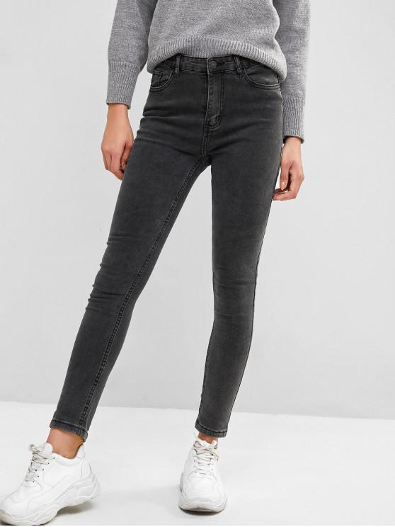 women Basic Skinny Jeans - DARK GRAY XL