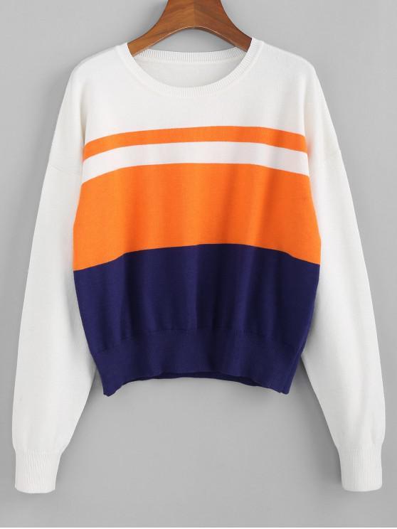 ZAFUL Jersey con Hombro Caído de Bloque de Color - Multicolor-C L